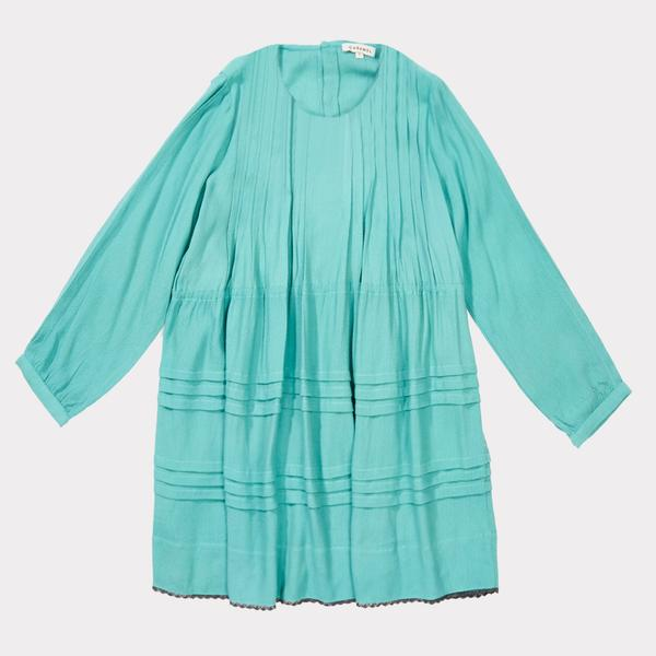 Girls Turquoise Twill Dress