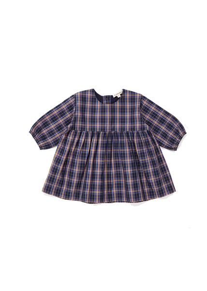 Baby Girls Navy Check Cotton Dress