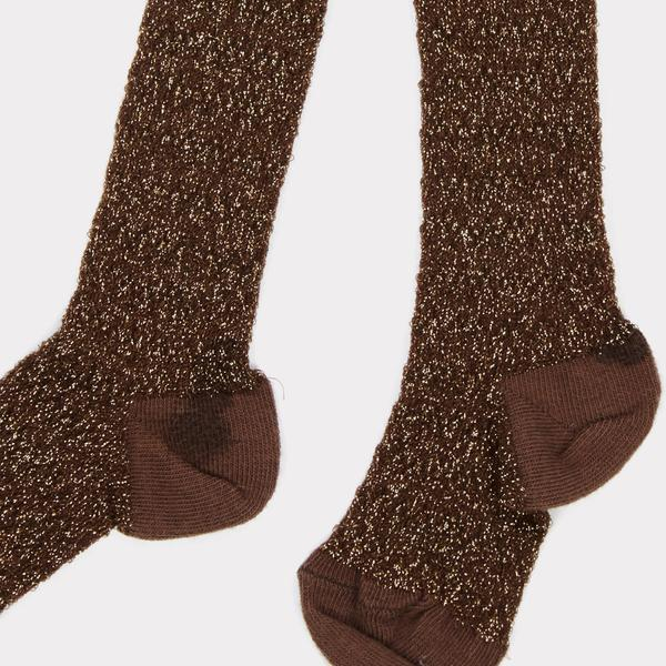 Girls Chocolate Glitter Cotton Tights