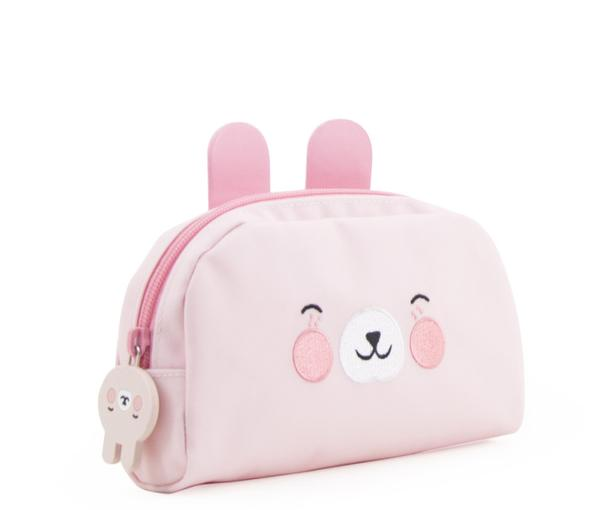 Girls Light Pink Bunny Printed Pencil Pouch(21 x 11 cm)