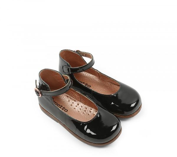 Baby Girls Black Cowhide Shoes