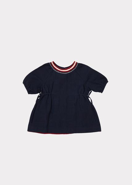 Baby Girls Navy Cotton Woven Dress